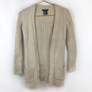 Theory Cream Cable Knit Long Cardigan